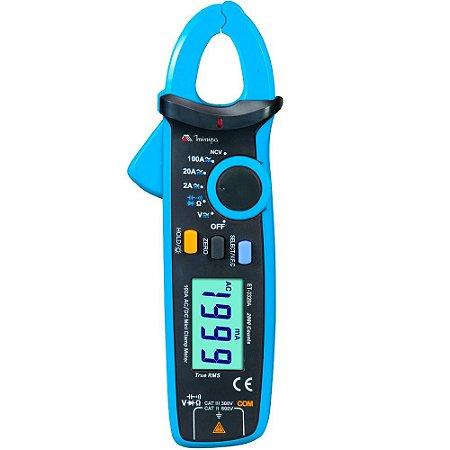 Alicate Amperímetro Dig.3 1/2D /CAT III 300V/Display Iluminado / True RMS / Função NCV - Minipa ET-3320A