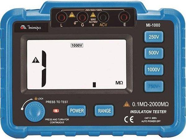 Megômetro 3 1/2 Dig. Faixa 0.1MΩ - 2000MΩ - Minipa MI-1000