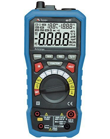 Multímetro 5 em 1 - Funções Multímetro / Luxímetro / Decibelímetro / Termômetro / Higrômetro - Minipa EZ-51