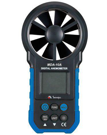 Anemômetro - melhor custo-benefício / Precisão básica 2% / Hélice acoplada - Minipa MDA-10A