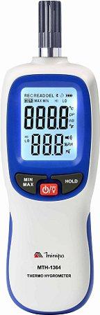 Termo-Higrômetro  Display Duplo com Iluminação / Faixa de -20°C a 70°C / Bluetooth - Minipa MTH-1364