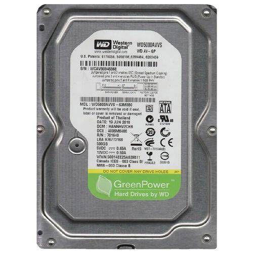 HD WESTERN DIGITAL 500GB SATA WD5000AVVS-63M8B0