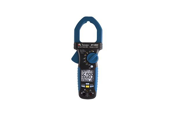 Alicate Amperímetro Digital  3 5/6D /CAT IV/True RMS AC+DC/1000A AC/DC /1000V AC/DC / 200uA/Res/Freq de Rede/NCV(EF)/LPF/VFD/Linha viva/AmpTip/Rotação de fase - MINIPA ET-3902
