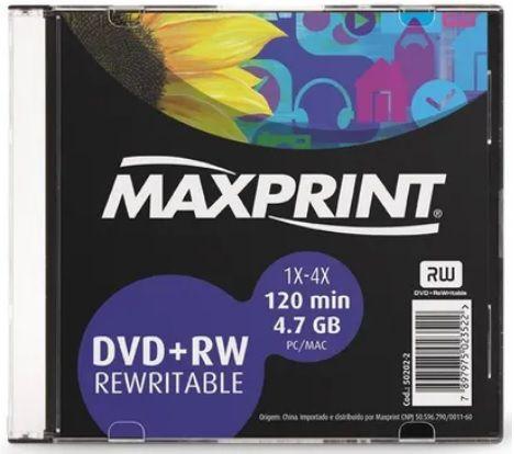 DVD-RW 4.7GB 4X - Regravável - Box Slim - Unidade - Maxprint 502018