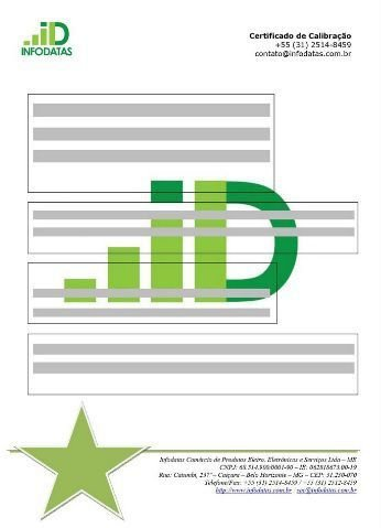 Certificado de Calibração para Década Resistiva, Geradores A / F / S