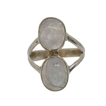 Anel Pedra da Lua Duplo Pedras