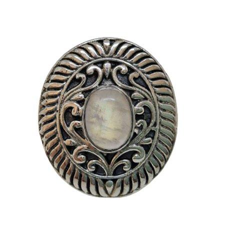Anel Pedra da Lua Oval Listrado Mandala