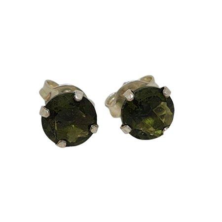 Brinco zircônia verde oliva