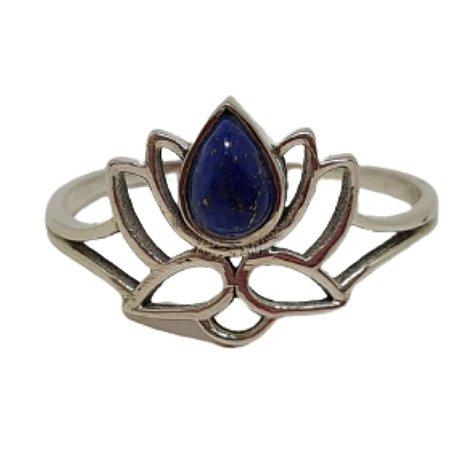 Anel Lápis Lazuli Flor de Liz