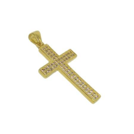 Pingente cruz dupla fileira de zircônias
