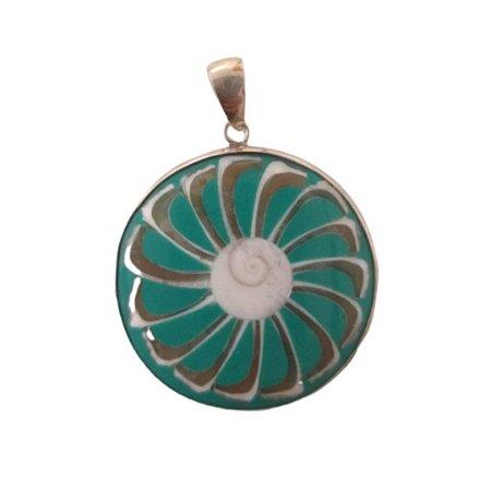 Pingente turquesa roda concha