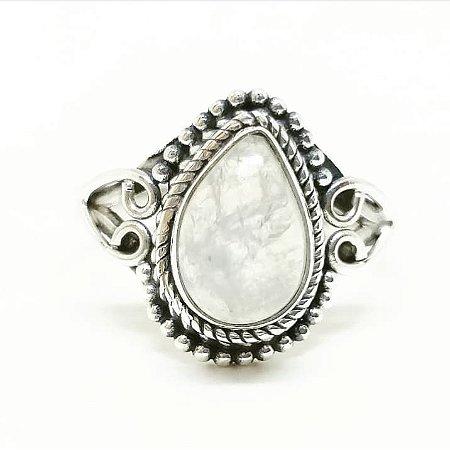 Anel Pedra da Lua Gota Coração