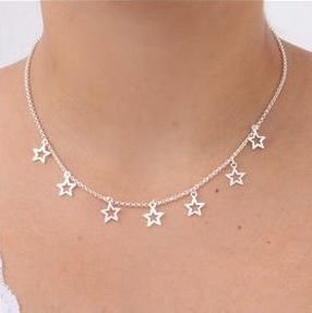 Gargantilha chocker estrelas Prata 925