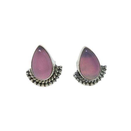 Brinco quartzo rosa leque