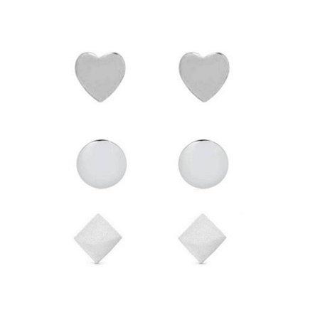 Brinco trio coração quadrado círculo