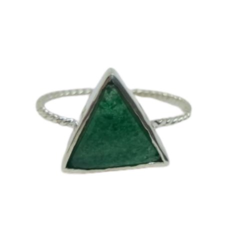 Anel jade triângulo