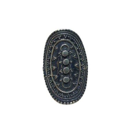 Anel oval boho prata 925