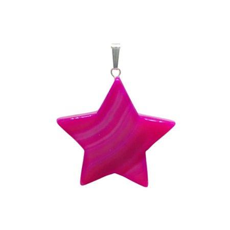 Pingente Estrela Ágata Pink
