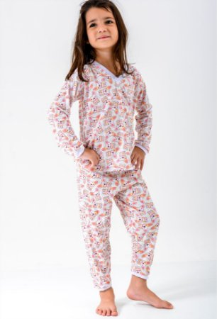 Pijama Infantil Manga Longa Feminino