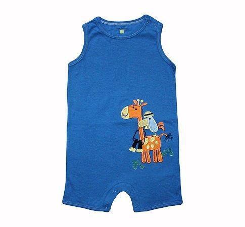 Macaquinho Bebê Girafa - Azul