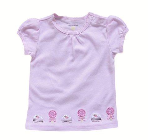 Camiseta Bebê Doces Rosas - Lilas