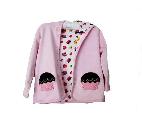 Casaco Bebê Reversível de Cupcakes