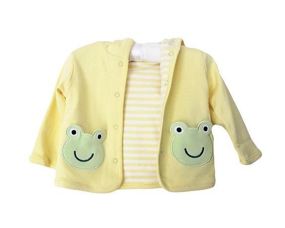 Casaco Bebê Reversível Amarelo Sapinho
