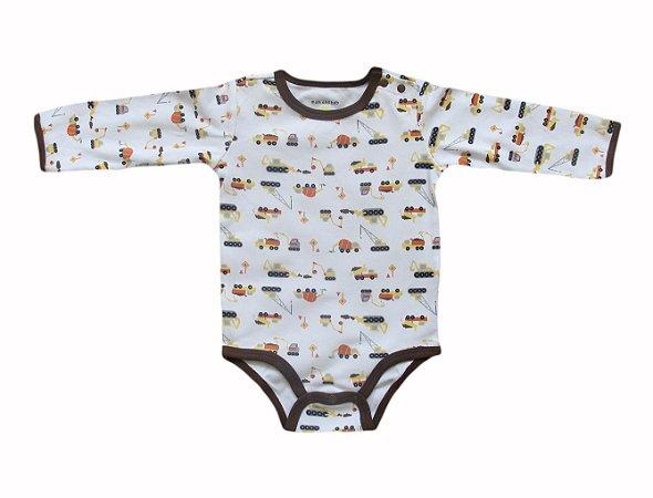 Body Bebê Manga Longa Caminhões