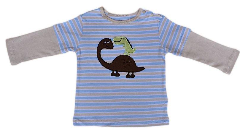 Camiseta Bebê Manga Longa de Dinossauros