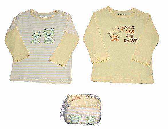Conjunto Bebê com 2 Camisetas Manga Longa de Bichinhos