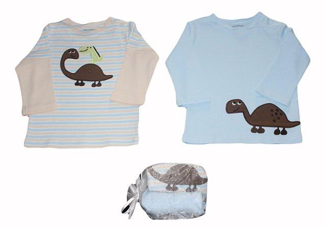 Conjunto Bebê com 2 Camisetas Manga Longa Dinos