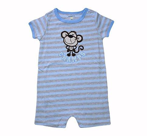 Macaquinho Bebê Listrado Azul com Macaquinho