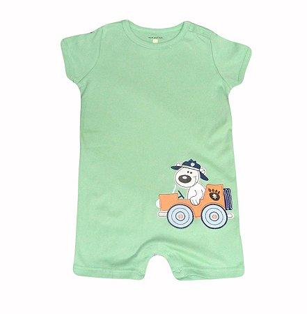 Macaquinho Bebê Verde Cachorrinho Bombeiro