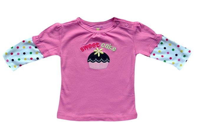 Camiseta Bebê Manga Longa Cupcake