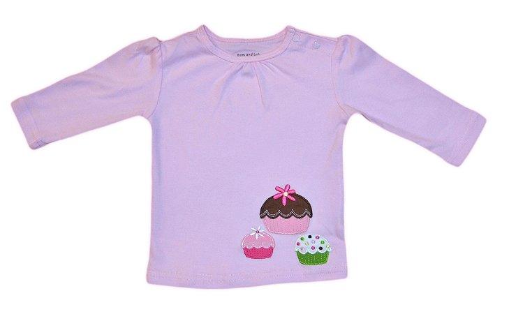 Camiseta Bebê Manga Longa Cupcakes