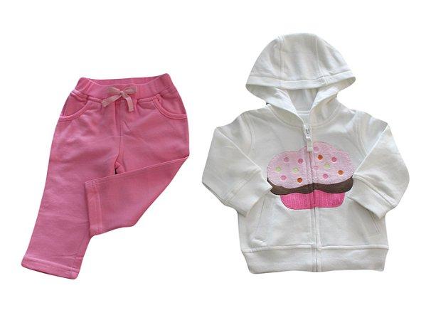 Conjunto bebê Cupcake Rosa e Branco