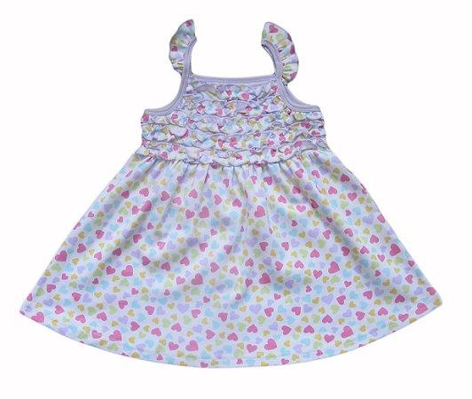 Vestido Bebê Lilás com Corações