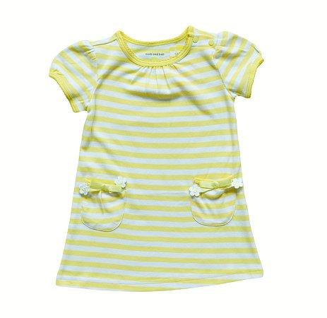 Vestido Bebê Amarelo Listrado