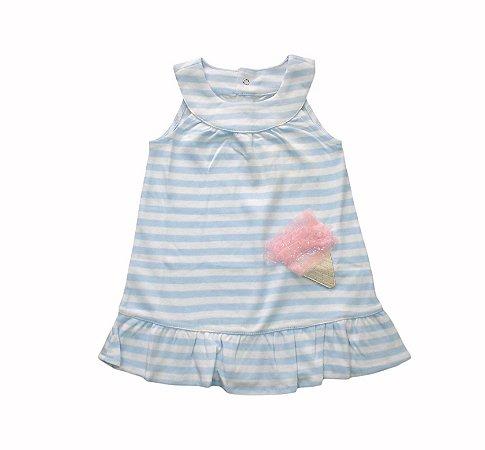 Vestido Bebê Listrado com Sorvetinho