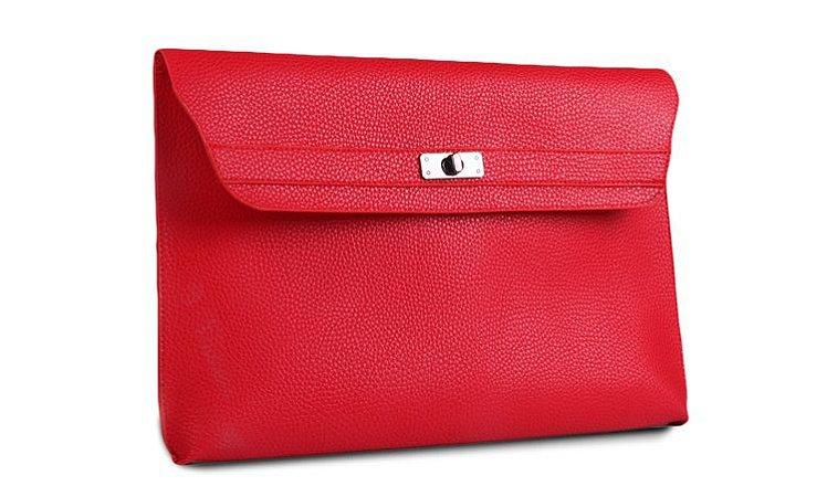 Bolsa Clutch de Couro Vermelho