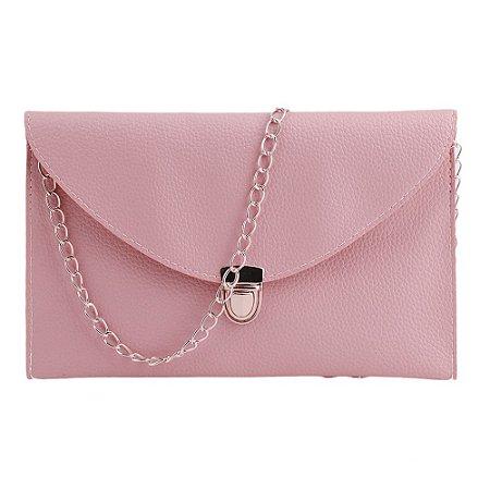 Bolsa Clutch de Couro Rosa Claro