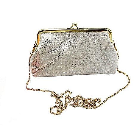 Bolsa Clutch Branco Brilhante