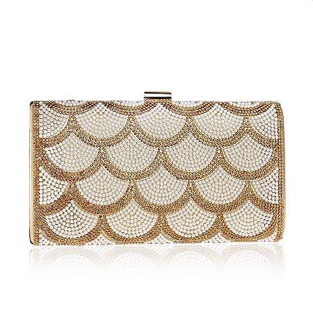 Bolsa Clutch Dourado com Branco