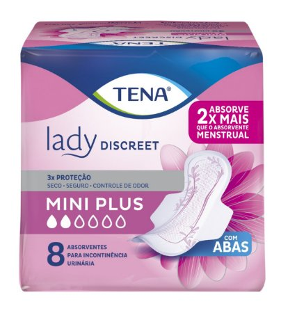 ABSORVENTE TENA LADY DISCREET MINI PLUS - 8 UNIDADES