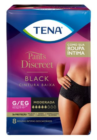 ROUPA ÍNTIMA TENA PANTS DISCREET BLACK - tam.G/EG - 8 unid.