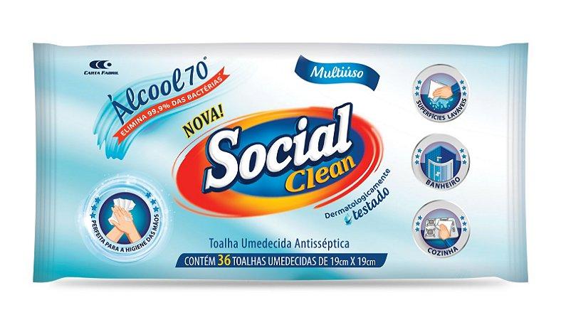 TOALHA UMEDECIDA ANTISSÉPTICA SOCIAL CLEAN - TAMANHO ÚNICO - 36 UNIDADES