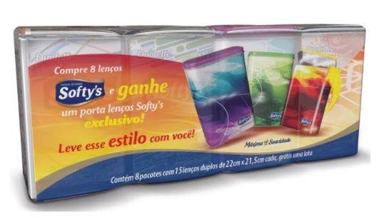 LENÇO SOFTYS - 8 PCTS COM 15 FOLHAS - GRÁTIS LATA