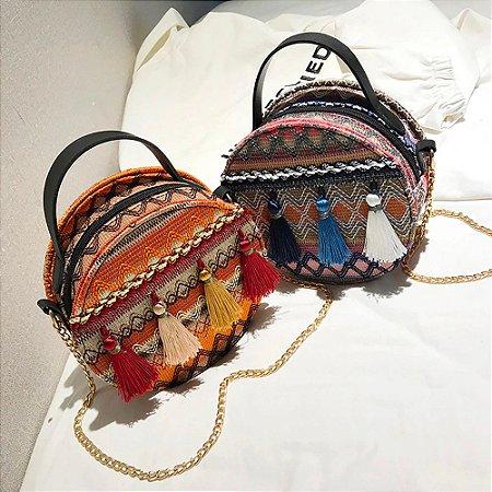 Bolsa Bag Redonda Crossbody com Franjas