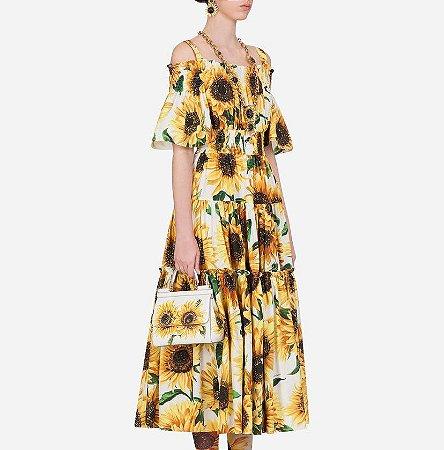 Vestido Longo Ciganinha Estampa Girassol