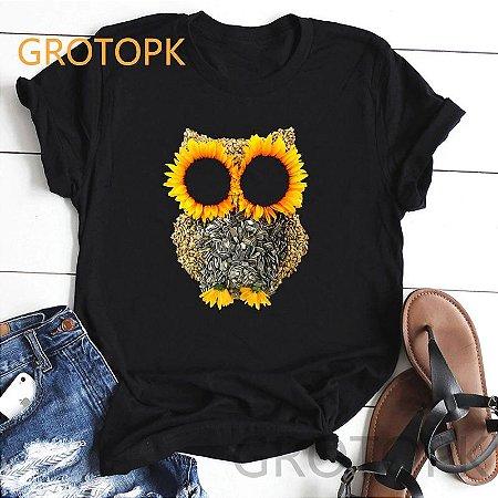 T Shirt Preta Estampa Coruja Girassol